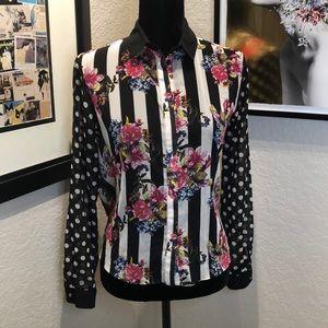 TopShop Striped Polka Dot Floral Blouse
